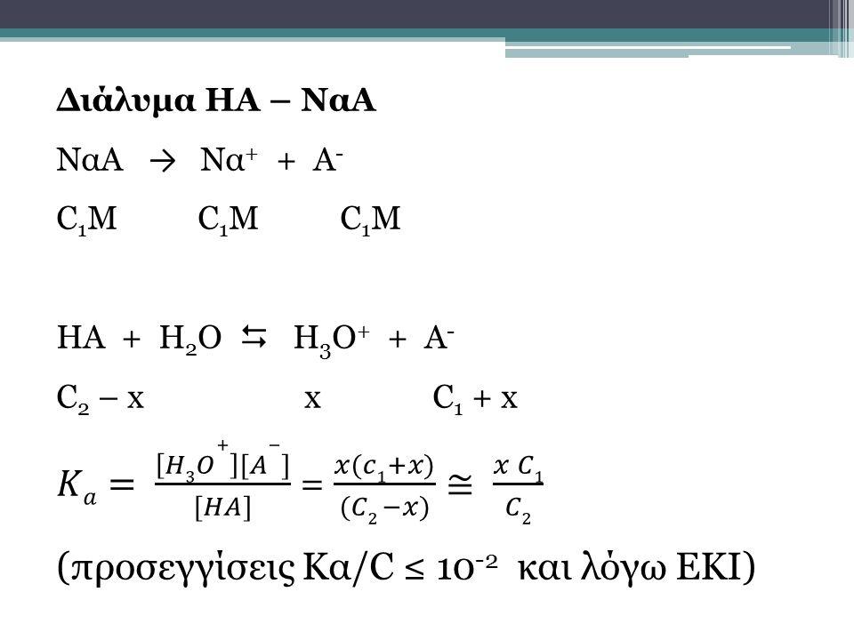 𝐾𝑎= 𝐻3𝑂+ [𝐴−] [𝐻𝐴] = 𝑥(𝑐1+𝑥) (𝐶2 −𝑥) ≅ 𝑥 𝐶1 𝐶2